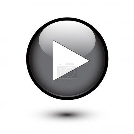 Illustration pour Jouer l'icône sur le bouton noir brillant - image libre de droit