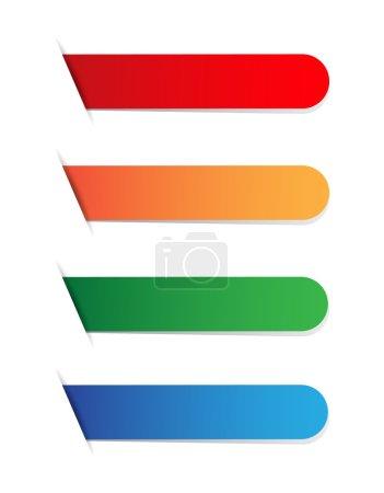 Illustration pour Étiquettes vides Cloor (rouge, orange, vert, bleu ) - image libre de droit