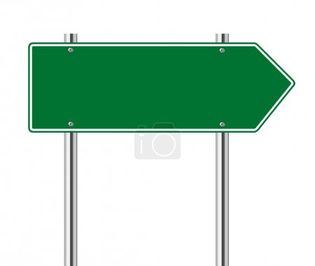Illustration pour Flèche verte vers la droite panneau routier sur blanc - image libre de droit