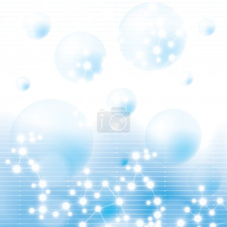 Illustration pour Abstrait molécule fond bleu - image libre de droit