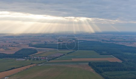 Aerial view of village landscape in Poland