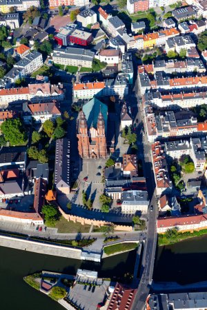 Aerial view of Opole city suburbs