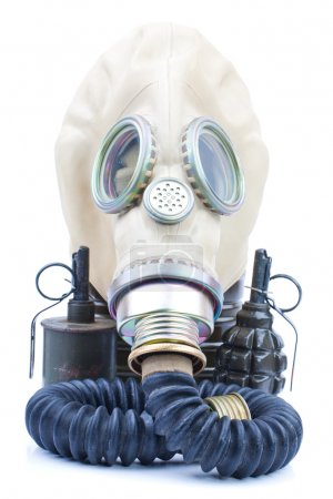 Gas mask with grenades on white background