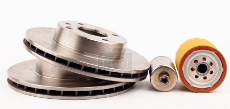 Front brake disks and pads for a car