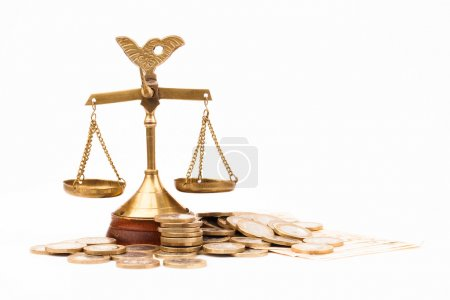 Money and scales of justice