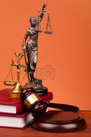 Judge gavel,scales and law books of justice