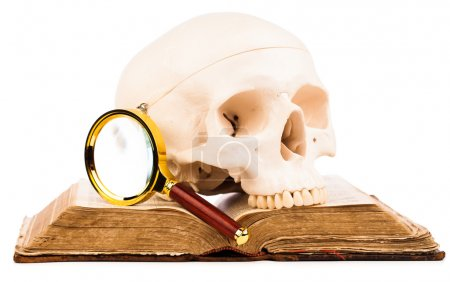 Old book and human skull isolated on white