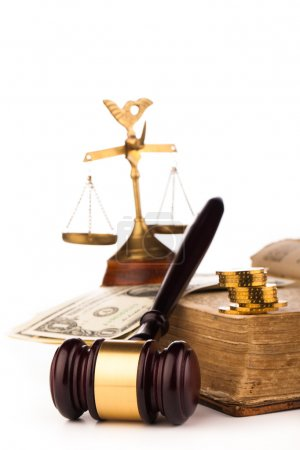 Gavel scales of justice,money and old book