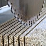 Detail of a circular saw used to cut granite...