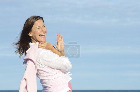 Beautiful joyful retired woman background