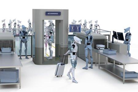 Photo pour Rendu 3d de robots passant par la sécurité de l'aéroport. - image libre de droit