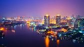 """Постер, картина, фотообои """"городской пейзаж Бангкока в ночное время"""""""