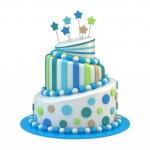 Big holiday cake isolated on white...