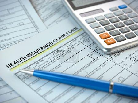 Photo pour Formulaire de demande de règlement d'assurance maladie - image libre de droit