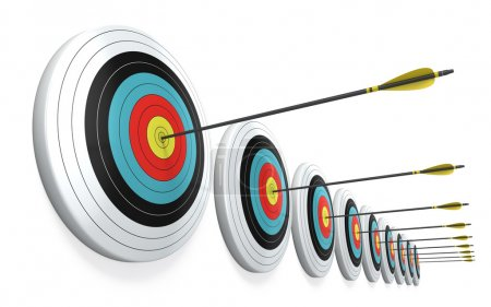 Photo for Arrows hitting the center of targets - success business concept - Royalty Free Image