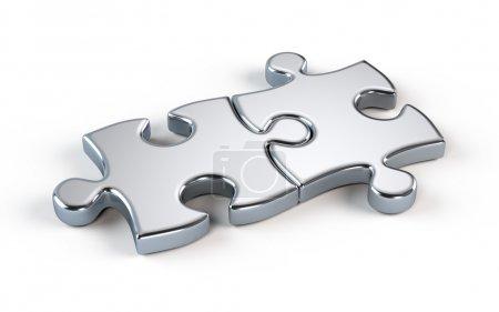 Photo pour Puzzle à deux métaux - concept de partenariat - image libre de droit