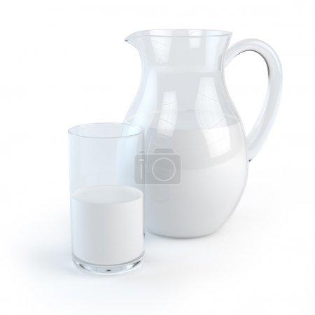 Photo pour Pichet et verre de lait - image libre de droit