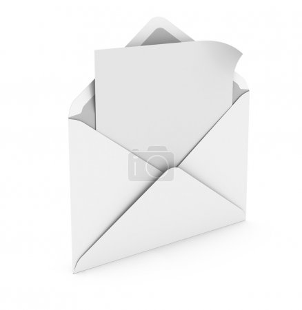 Open envelope with paper