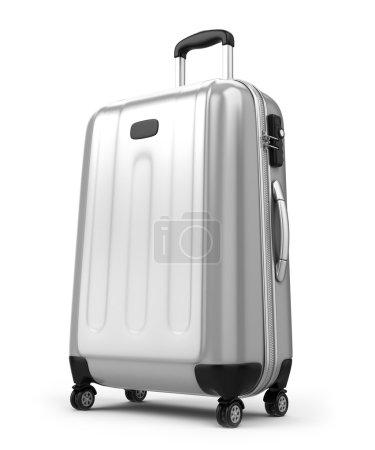 grande valise isolé sur blanc