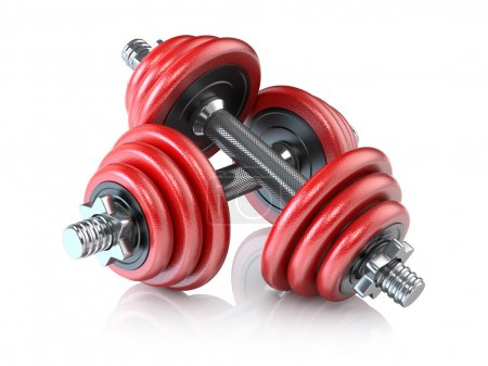 Photo for Two red dumbbells on white bacground - Royalty Free Image