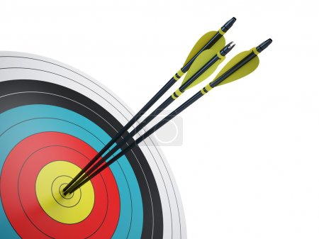 Photo for Arrows hitting the center of target - success business concept - Royalty Free Image