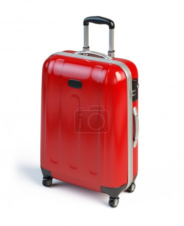 Red suitcase isolated on white...