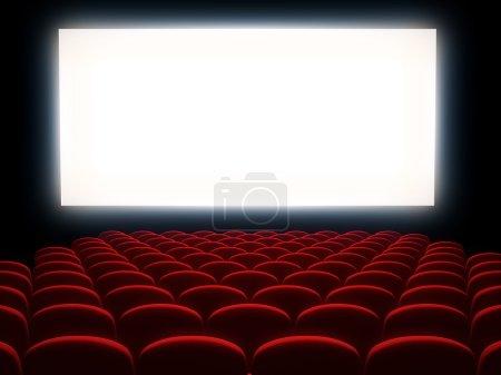 Photo pour Auditorium cinéma avec écran blanc - image libre de droit