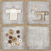 Sewing items on rustic linen background
