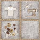 Artículos de coser sobre fondo de lino rústico