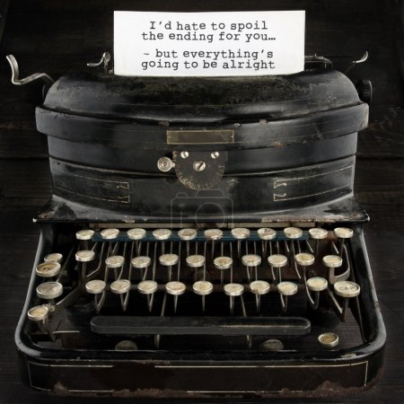 Photo for Old antique black vintage typewriter and paper with text telling everthing is going to be alright - concept for optimism, comfort and trust for the future - Royalty Free Image