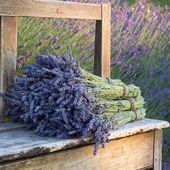 Blumensträuße auf Lavendel auf einer alten Bank