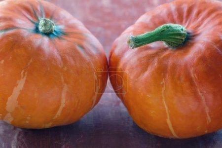 Photo pour Citrouilles halloween orange sur fond rustique en bois rouge - image libre de droit