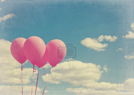 Pink balloons with vintage editing