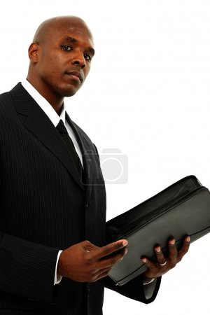 Black Business Man in Suit and Tie with Portfolio in Hands