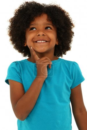 Photo for Adorable black girl child thinking gesture and smiling over white. - Royalty Free Image