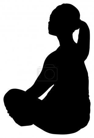 Silhouette fat woman sitting on floor with clipping path.