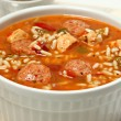 Bowl of Cajun Spicy Chicken and Sausage Gumbo Soup...