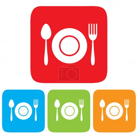 Dish, Fork and spoon icon, restaurant sign