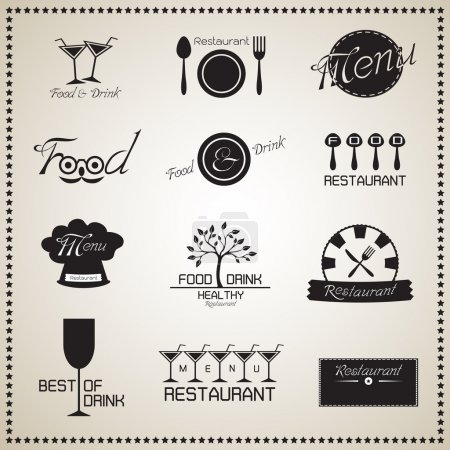 Photo pour Aliments et boissons Ensemble d'étiquettes de restaurant. Illustration vectorielle - image libre de droit