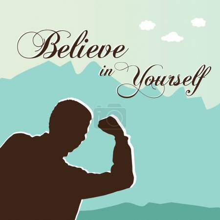 Illustration for Believe in Yourself with a man with arms up - Royalty Free Image