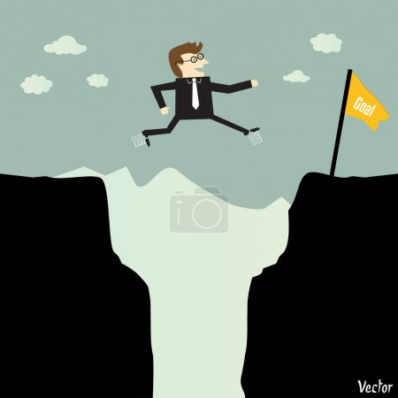Businessman jumping with spring from a part of a mountain to another for a high target