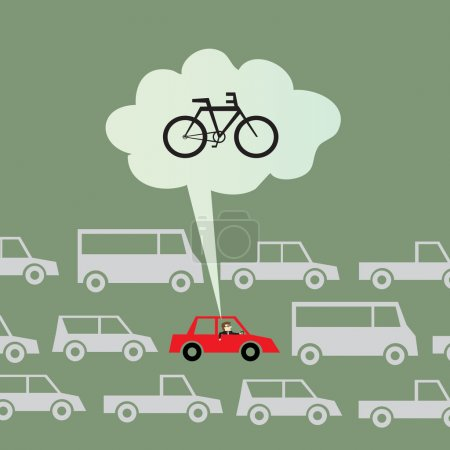Illustration pour Vélo au travail au lieu de conduire - image libre de droit