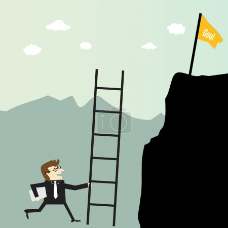Illustration for Businessman climbing with stairs for a high target - Royalty Free Image
