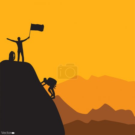 Illustration for Mountain climbing, vector illustration - Royalty Free Image