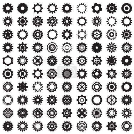 Collection of gear wheels isolated on white background
