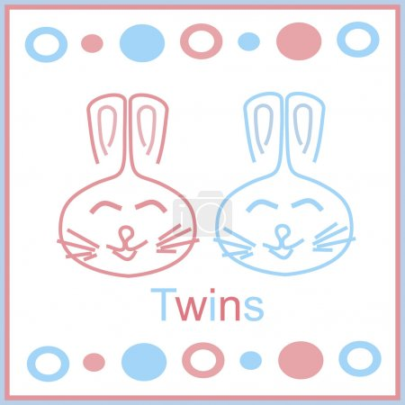 Illustration for Card for newborn twins - Royalty Free Image