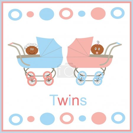 Illustration for Strollers for twins pink and blue with afromerican children a boy and a girl - Royalty Free Image