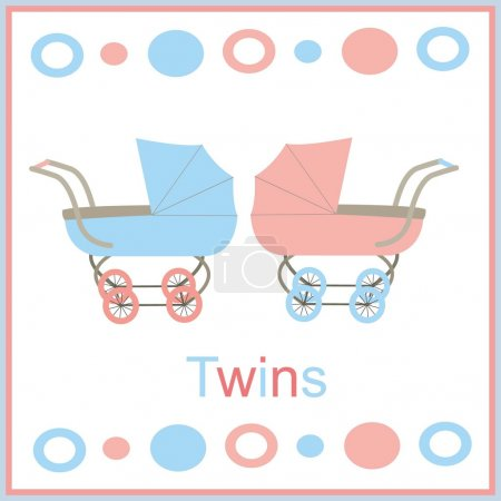 Illustration for Strollers for twins pink and blue - Royalty Free Image