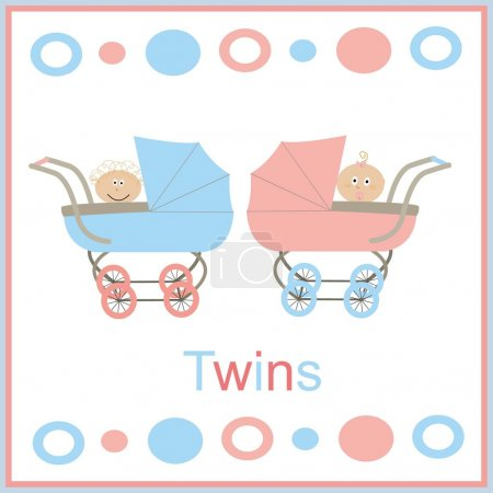 Illustration for Strollers for twins pink and blue with white children boy and gi - Royalty Free Image