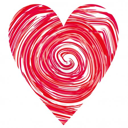 Illustration for Heart in a red circles, vector - Royalty Free Image